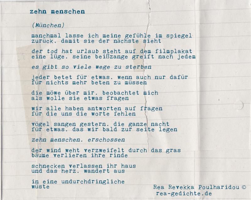 zehn menschen - prosagedicht von Rea Revekka Poulharidou