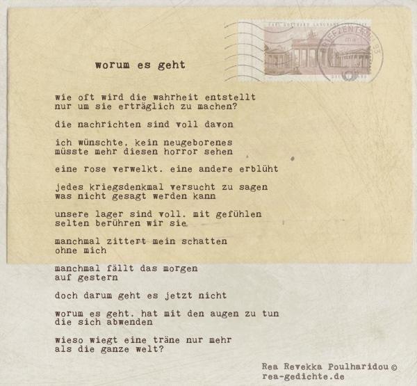worum es geht - Briefgedicht von Rea Revekka Poulharidou