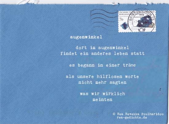 augenwinkel - Briefgedicht von Rea Revekka Poulharidou