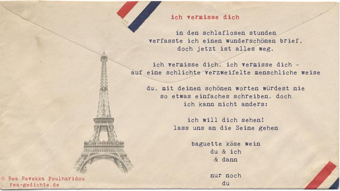 ich vermisse dich - Briefgedicht von Rea Revekka Poulharidou