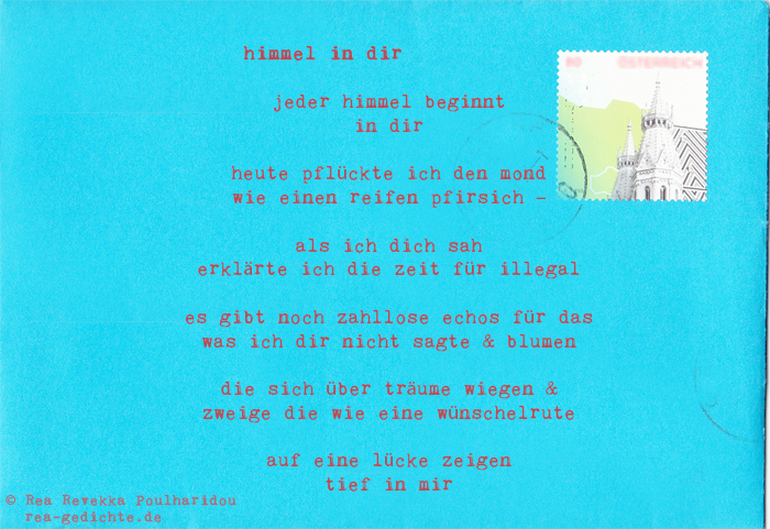himmel in dir - Briefgedicht von Rea Revekka Poulharidou