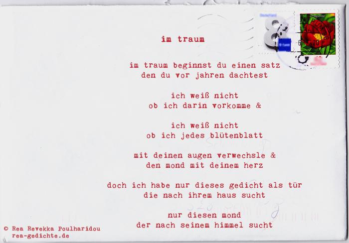 im traum - Briefgedicht von Rea Revekka Poulharidou