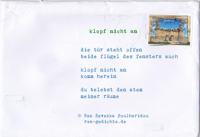 klopf nicht an - Briefgedicht von Rea Revekka Poulharidou