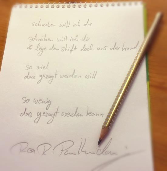 schreiben will ich dir - Briefgedicht von Rea Revekka Poulharidou