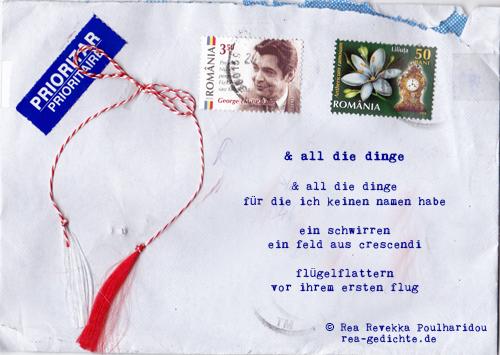 & all die dinge, Briefgedicht von Rea Revekka Poulharidou